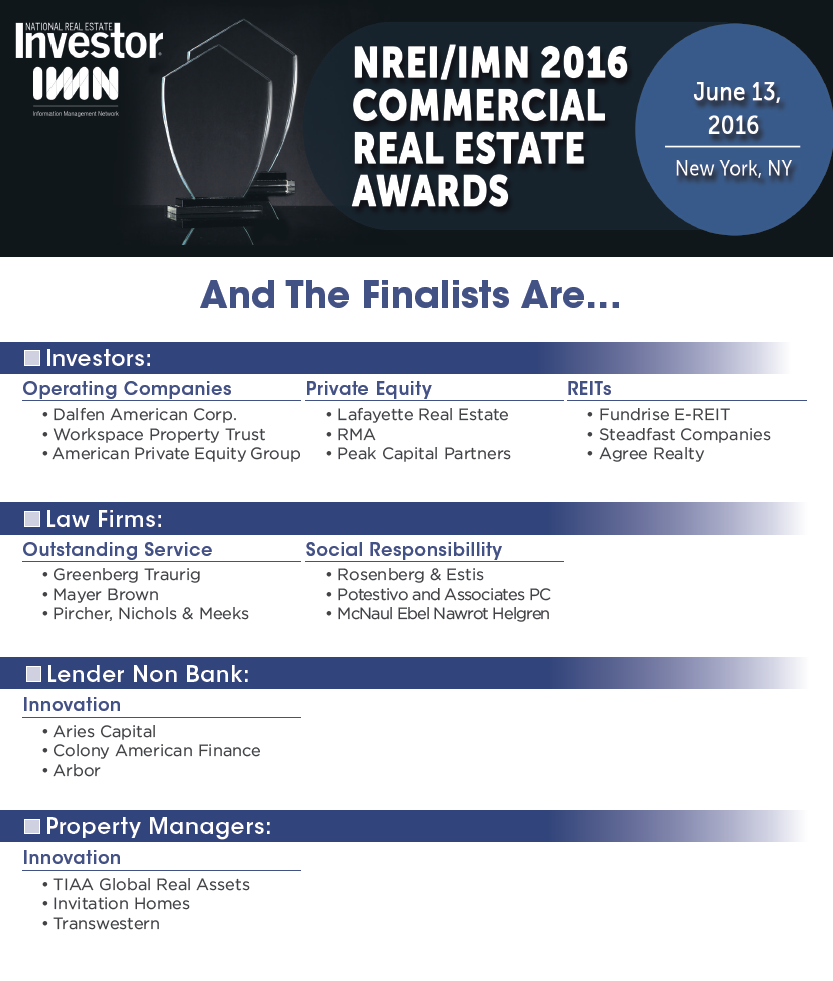 NREI/IMN 2016 Commercial Real Estate Private Equity Awards Image